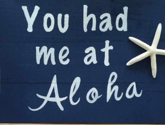 you had me at aloha sign