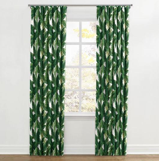 banana leaf print curtains
