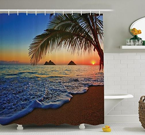 lanikai beach hawaiian shower curtain