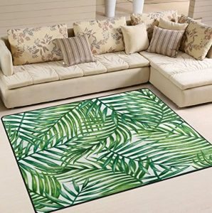 palm leaves area rug