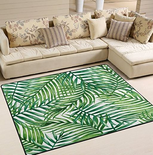 palm leaves area rug