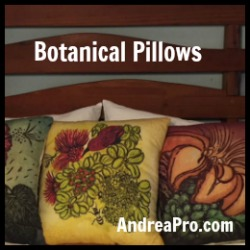 botanical tropical pillows by Andrea Pro