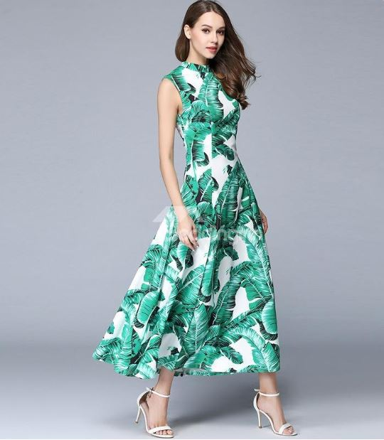 green palm leaf print dress