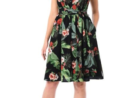 a-line tropical print dress
