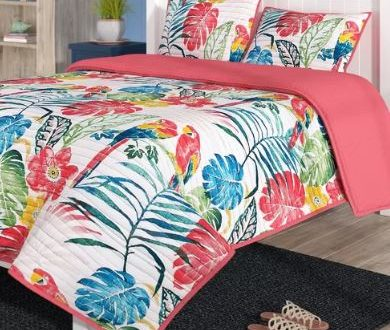 bright palm print bedding