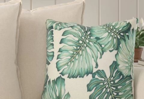 tropical leaves pillow on sale